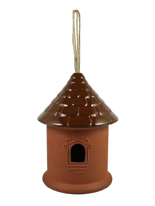 Terracotta bird house with glazed roof